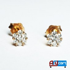 Diamond, 18K Yellow Gold Earrings