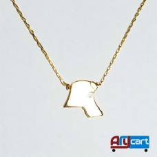 Attractive Kuwait Map, 18K Yellow Gold Necklace