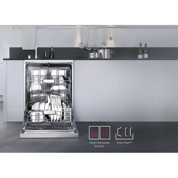 LG 14 plate capacity with Direct Drive Dishwasher - Silver
