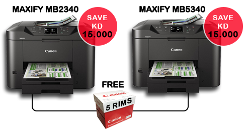 Canon Maxify MB2340 and Maxify MB5340 with Free 5 RIMS A4 paper with each printer in Kuwait